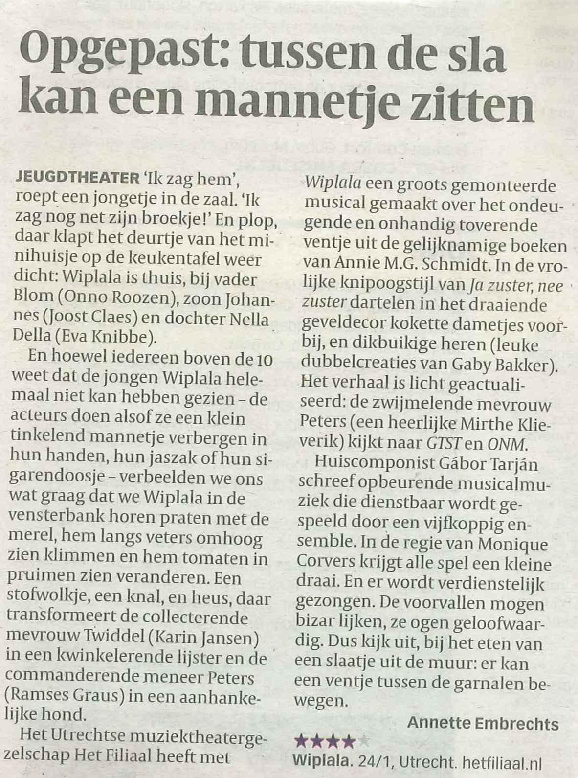 Volkskrant 28 januari 2010